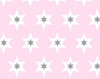 Tissu Gutermann Etoiles grises et blanches sur fond rose- Collection Long Island