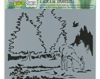 Deer in Woods 12 x 12 Stencil