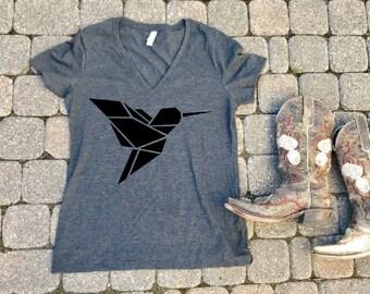 Hummingbird T-Shirt, Geometric Bird Tshirt, animal shirt, gift for her