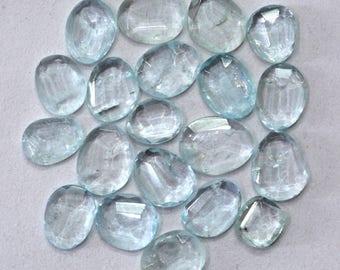 Aquamarine Natural Aquamarine Both Side Faceted Rose Cut Polki Gemstone 34.75 cts. 20 Pieces For Designer Jewelry - 3998