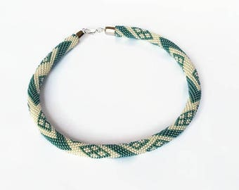 Crochet seed bead Necklace - Beaded Necklace - Crocheted Rope - Bead Knitted Necklace - Women Jewellery - Collar - Locking Necklace - Gift