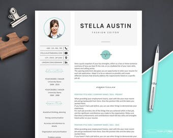 Resume with Photo Template, Professional Resume Template for Fashion, Resume Template Word, Resume Template, Resume Design with Icons, CV