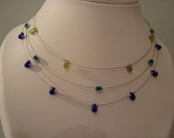 Blue Green triple necklace