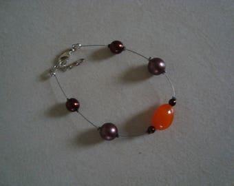 Bracelet simple orange and Brown