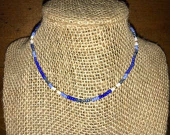Blues, White, and Gold Choker
