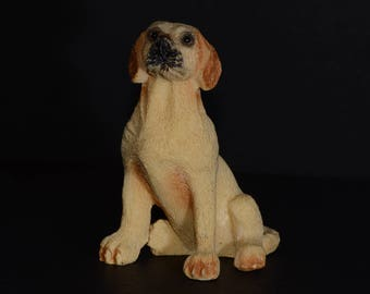 Sandicast small size sculpture, Sitting Golden Labrador, DOG Figurine, Statue, Hand Painted, Resin, Replica Realistic, Dog, Collectible