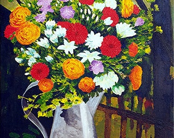 "Painting on canvas - ""Bouquet de Fleurs"" flowers-"
