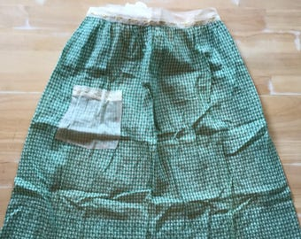 Vintage Green Gingham & Lace Apron