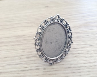 support ring tray vintage oval silver metal adjustable