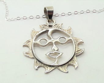 Sterling Silver Sun Pendant Necklace  /20 inch Sterling Silver Chain/Free Shipping US/Vintage Silver Sun Pendant/Birthday gift/Sun Necklace