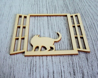 Cat on window 1082 a cut out of wood for your creation