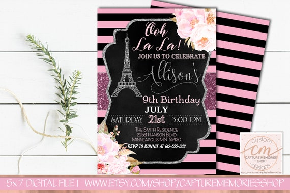 Paris birthday invitationeiffel tower invitationfrench theme il570xn filmwisefo
