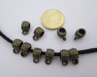 10 bélière anneau en métal couleur bronze 11 X 5.5 mm