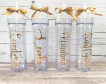 Bridesmaid Gift - Personalized Skinny Tumbler