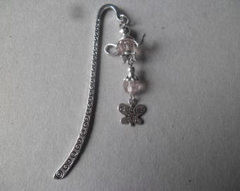 x 1 bookmark decorated with butterfly + silver charm bead, telliere Pink 8.5 cm