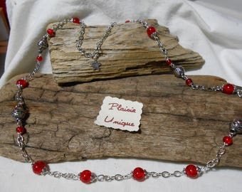 Necklace silver red glass beads