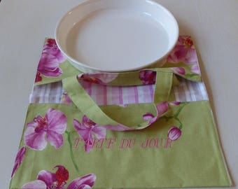 "bag pie fabric green floral lined striped, embroidered ""Pie day"" for this is a vintage pie 20 / 30cm"