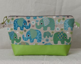 """Kit makeup """"ELEPHANTS green"""" printed canvas and faux leather Green"""