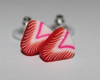Strawberry Slice Studs / Fruit Earrings / Strawberry Studs