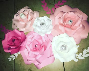 6 pc. Pretty in pink paper flowers