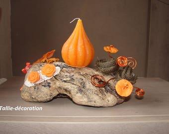 candle holder, driftwood, artisanal creation