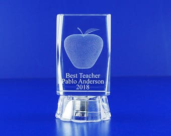 Best Teacher Awards  Personalized Custom Laser Etched Engraving 3D Apple Crystal Glass Cube 045L