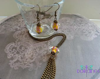 Handcrafted set of yellow/pink glass beads