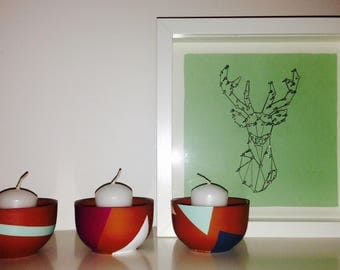 Frame nails son 3D animals deer