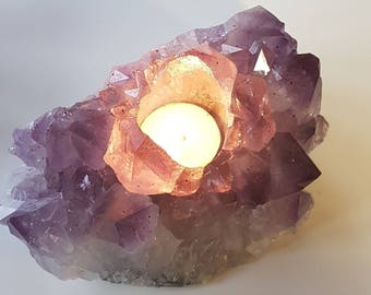 Large A grade Amethyst tealight holder
