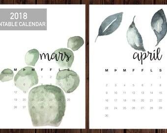 2018 printable calendar, modern calendar, Icelandic calendar, minimalistic calendar, watercolor art calendar, A4 size calendar