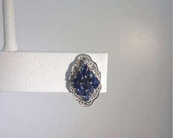 Sapphire Marquise earrings with White Topaz