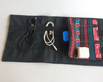 Travel cord organizer cable organizer cable holder travel organizer African fabric