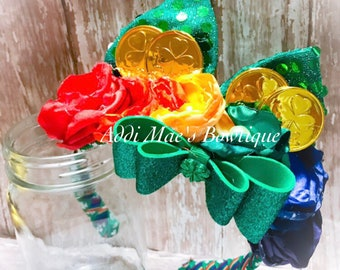 St Patricks Day Rainbow satinflower ribbon weaved headband