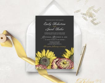 Sunflower & Gerbera Fall Wedding Invitation Printable Garden Wedding Invite Template, Flowers - Chalkboard Rustic Country Wedding Invitation