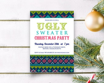 Ugly Sweater Party Invitations Christmas Invitations Template Printable Winter Party Invite Tacky Sweater Xmas Invitation Holiday Invitation
