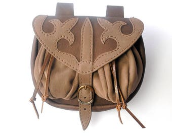 Medieval style, leather girdle purse with pouches and decorated flap