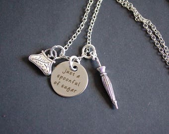 A spoonful of sugar Mary poppins inspired necklace