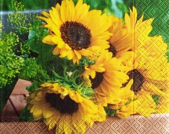 TOWEL in beautiful paper bouquet of sunflowers #F028