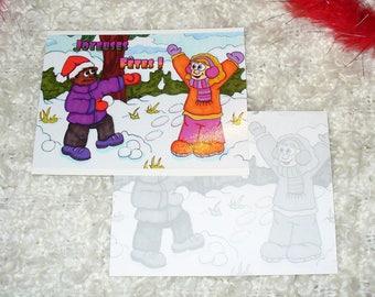 """Card """"Battle of snowballs"""" (10,7 x 13,8 cm)"""
