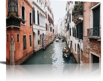 Venice Italy Gondola Boat Canal Art Print Wall Decor Image - Canvas Stretched Framed