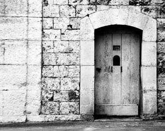 Canvas Print, France Street Door, Paris, France, European Travel, Black White Photography, Stone Door Picture, French Street Picture,