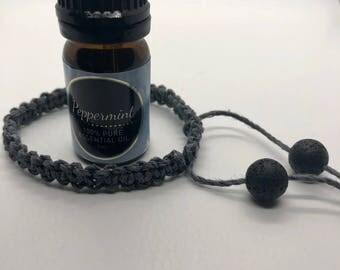 Essential oil diffuser, lava rock, natural, size adjustable, hemp bracelet, for him, for him, aromatherapy on the go