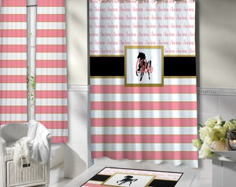 gold and pink shower curtain. Light Pink Shower Curtain  Horse Curtains Striped Gold Black shower curtain Etsy