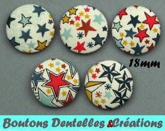 Buttons covered with Liberty - A Adeladja - colored stars - 18mm