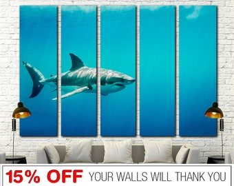 Shark canvas, Sea Life canvas, Shark Wall Art, Great White Shark, White Shark canvas, Shark Print, Shark Wall Decor, Shark, White Shark art