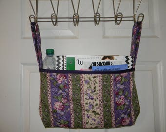 Wheelchair Tote Bag Purple and Green Floral