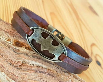 Gift for Boyfriend Man leather bracelet Mens Batman Bracelet Leather Men Bracelets Mens Leather Anniversary gift for men