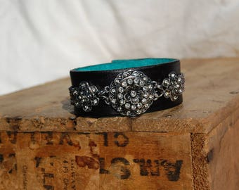 Leather cuff bracelet  handcrafted