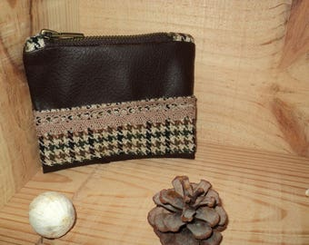 Purse faux leather and wool
