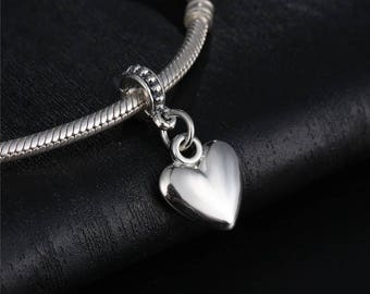 Pandora charms  sterling silver heart love charm Valentines day gift pandora bracelets and pandora necklaces jewellery making craft supplies